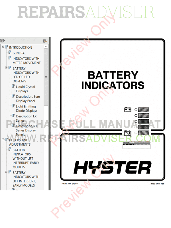 Hyster Class 1 For A203 Electric Motor Rider Trucks PDF Manual image #1