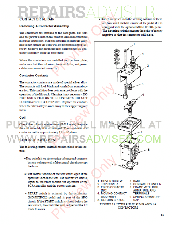Hyster Class 1 For A203 Electric Motor Rider Trucks PDF Manual, Manuals for Trucks by www.repairsadviser.com