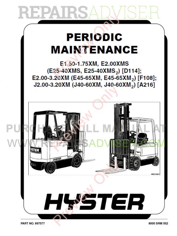 Hyster Class 1 For A216 Electric Motor Rider Trucks PDF Manual, Manuals for Trucks by www.repairsadviser.com