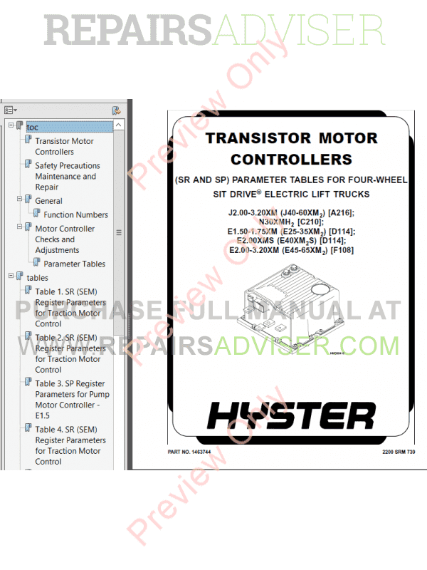 Hyster Class 1 For A216 Europe Electric Motor Rider Trucks PDF Manual, Manuals for Trucks by www.repairsadviser.com