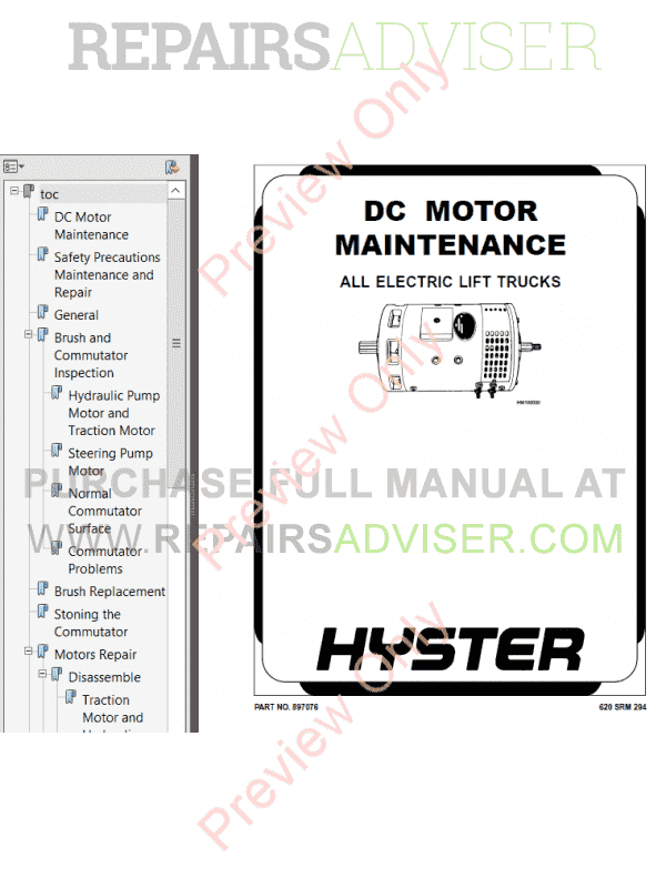 Hyster Class 1 For A219 Electric Motor Rider Trucks PDF Manual image #1