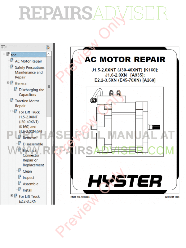 Hyster Class 1 For A935 Europe Electric Motor Rider Trucks PDF Manual image #1