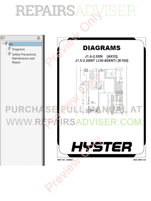 Hyster Class 1 For A935 Europe Electric Motor Rider Trucks PDF Manual, Manuals for Trucks by www.repairsadviser.com