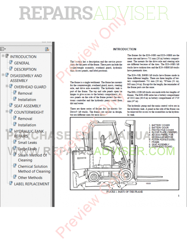 Hyster Class 1 For B098 Europe Electric Motor Rider Trucks PDF Manual image #1