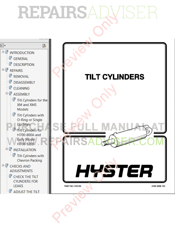 Hyster Class 1 For B098 Europe Electric Motor Rider Trucks PDF Manual, Manuals for Trucks by www.repairsadviser.com