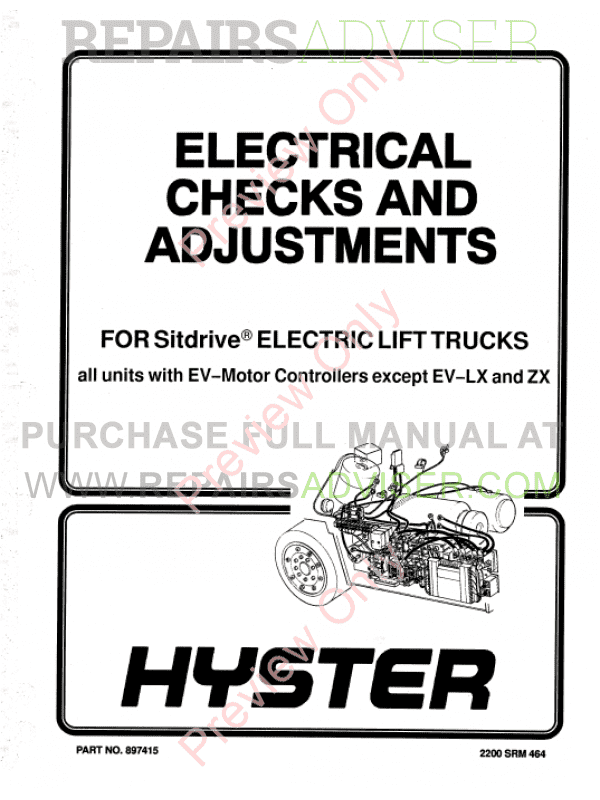 Hyster Class 1 For B108 Americas Electric Motor Rider Trucks PDF Manual, Manuals for Trucks by www.repairsadviser.com