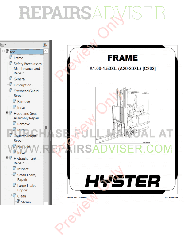Hyster Class 1 For C203 Europe Electric Motor Rider Trucks PDF Manual, Manuals for Trucks by www.repairsadviser.com