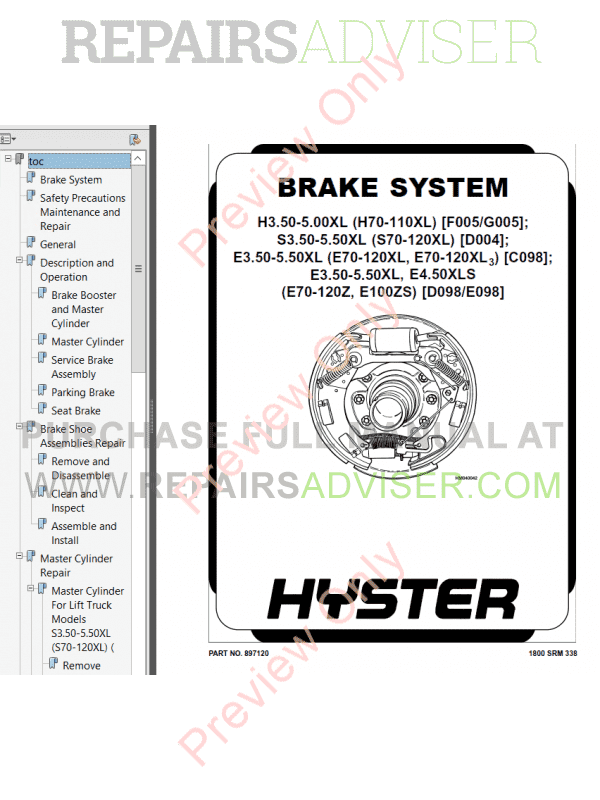 Hyster Class 1 For D098 Electric Motor Rider Trucks PDF Manual, Manuals for Trucks by www.repairsadviser.com