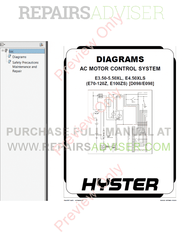 Hyster Class 1 For D098 Europe Electric Motor Rider Trucks PDF Manual, Manuals for Trucks by www.repairsadviser.com