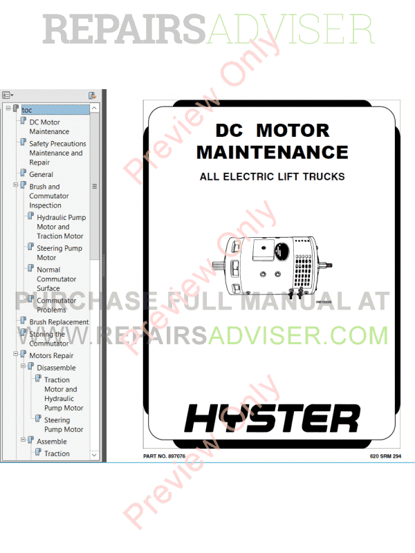 Hyster Class 1 For D114 Pre-SEM Electric Motor Rider Trucks PDF Manual, Manuals for Trucks by www.repairsadviser.com