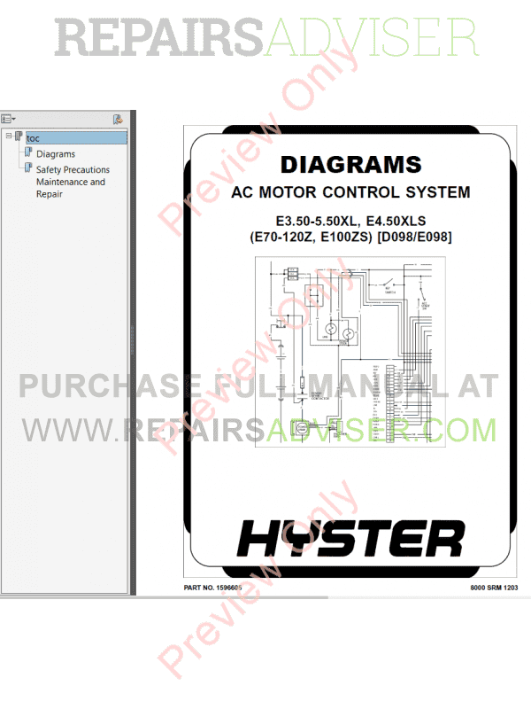 Hyster Class 1 For E098 Europe Electric Motor Rider Trucks PDF, Manuals for Trucks by www.repairsadviser.com