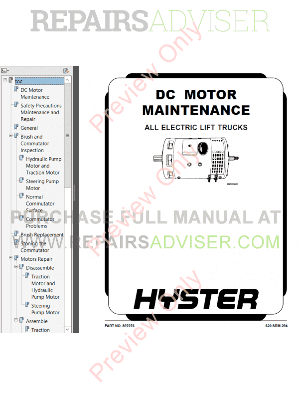 Hyster Class 1 For E114 Electric Motor Rider Trucks PDF Manual image #1