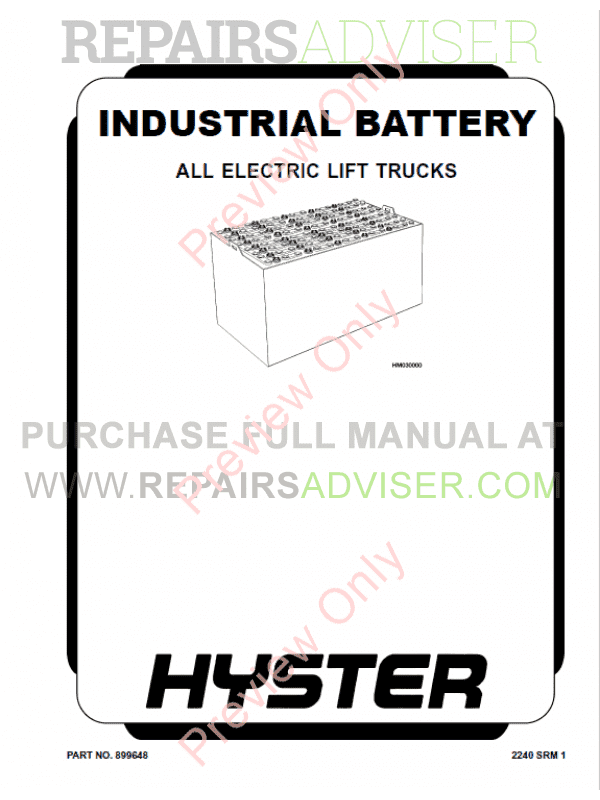 Hyster Class 1 For E114 Electric Motor Rider Trucks PDF Manual, Manuals for Trucks by www.repairsadviser.com