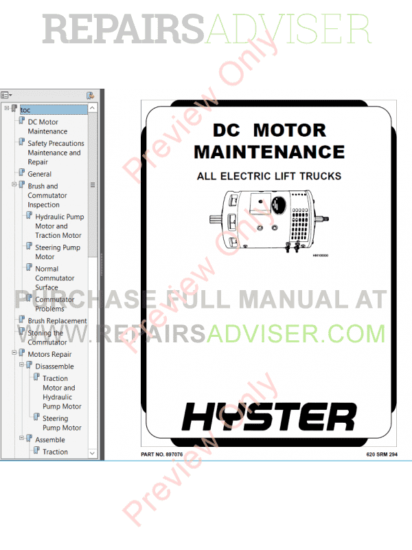 Hyster Class 1 For E114 Europe Electric Motor Rider Trucks PDF image #1