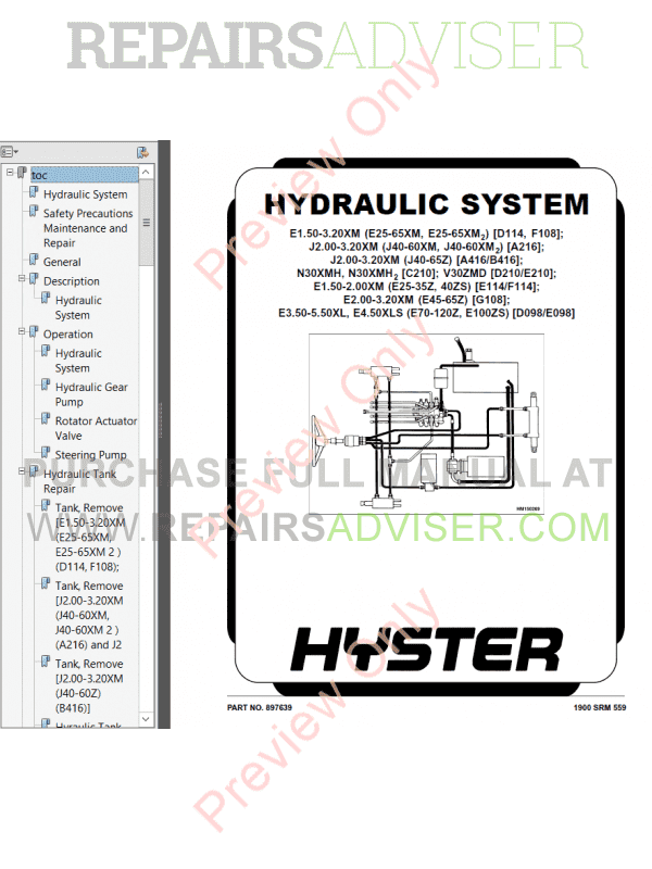 Hyster Class 1 For E114 Europe Electric Motor Rider Trucks PDF, Manuals for Trucks by www.repairsadviser.com