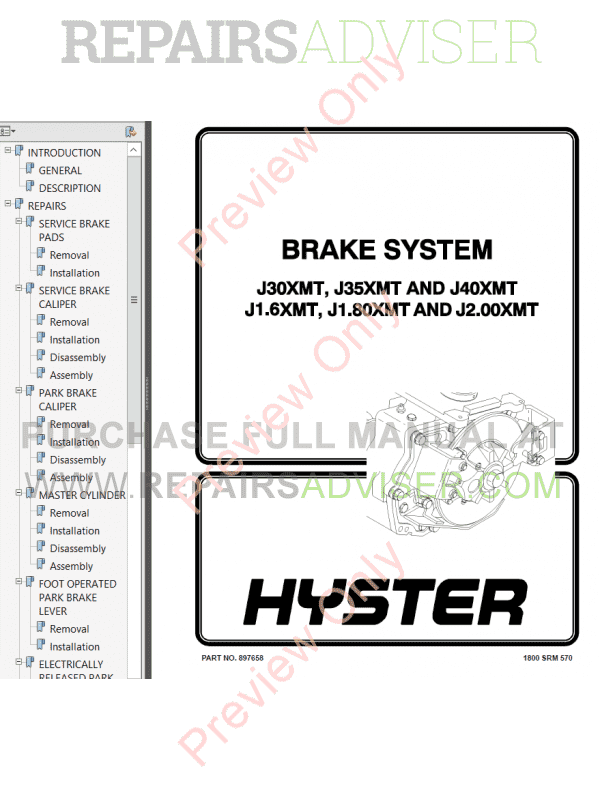 Hyster Class 1 For E160  Europe Electric Motor Rider Trucks PDF Manual, Manuals for Trucks by www.repairsadviser.com