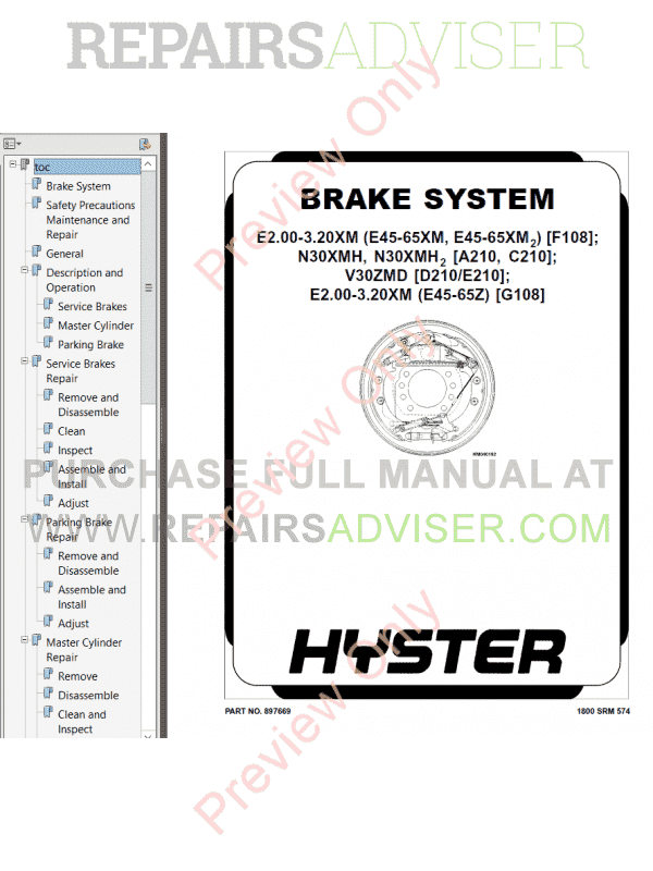 Hyster Class 1 For F108 Electric Motor Rider Trucks PDF Manual, Manuals for Trucks by www.repairsadviser.com
