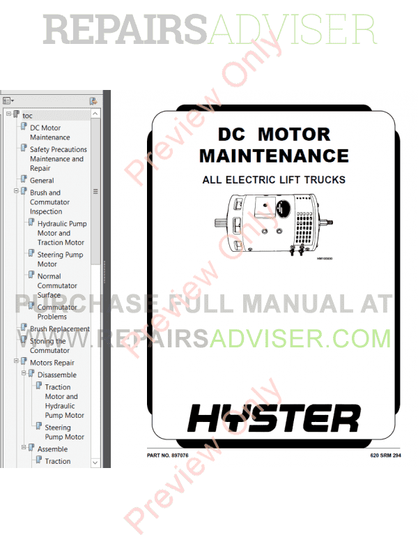 Hyster Class 1 For D114 Europe Electric Motor Rider Trucks PDF Manual image #1