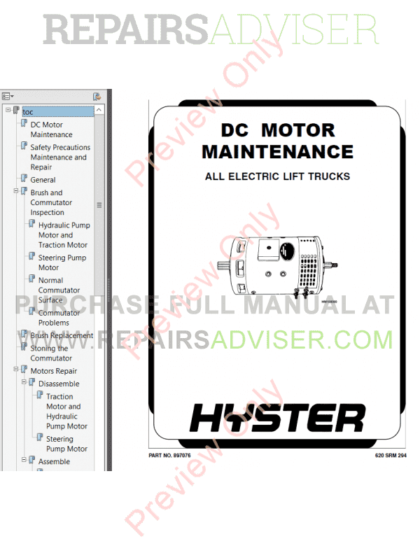 Hyster Class 2 For A186 Electric Motor Narrow Aisle Trucks PDF Manual, Manuals for Trucks by www.repairsadviser.com