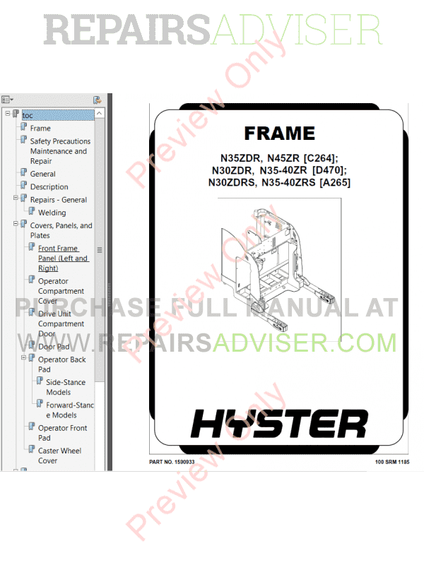 hyster class 2 for c264 electric motor narrow aisle trucks