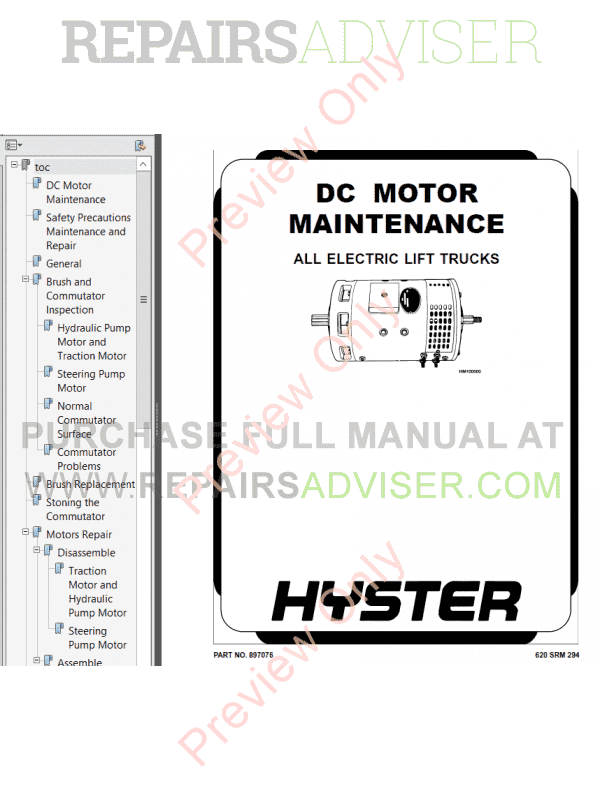Hyster Class 2 For C470 Electric Motor Narrow Aisle Trucks PDF Manual image #1