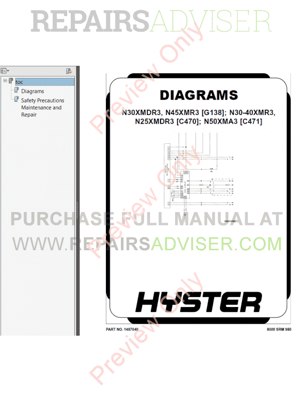 Hyster Class 2 For C470 Electric Motor Narrow Aisle Trucks PDF Manual, Manuals for Trucks by www.repairsadviser.com