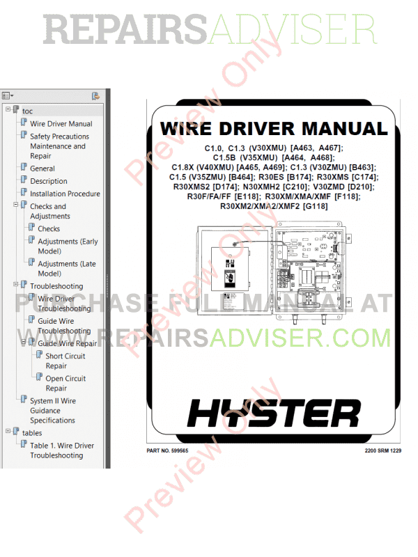 Hyster Class 2 For D210 Electric Motor Narrow Aisle Trucks PDF Manual