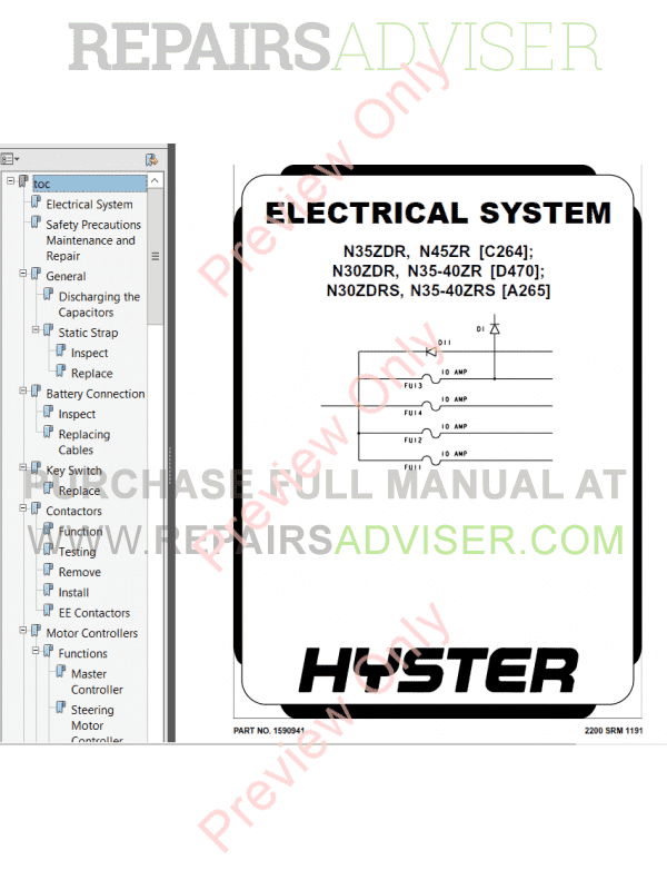Hyster Class 2 For D470 Electric Motor Narrow Aisle Trucks PDF Manual, Manuals for Trucks by www.repairsadviser.com