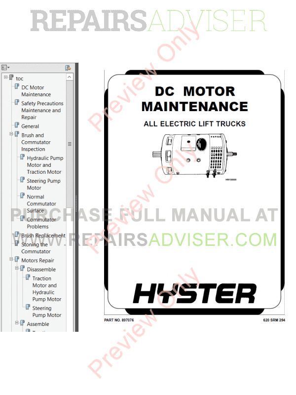 Hyster Class 2 For E138 Electric Motor Narrow Aisle Trucks PDF Manual image #1