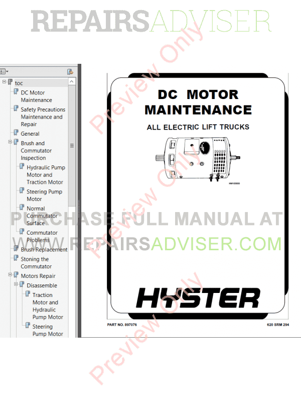 Hyster Class 2 For F138 Electric Motor Narrow Aisle Trucks PDF Manual, Manuals for Trucks by www.repairsadviser.com