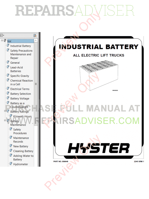 Hyster Class 2 For G138 Electric Motor Narrow Aisle Trucks PDF Manual, Manuals for Trucks by www.repairsadviser.com