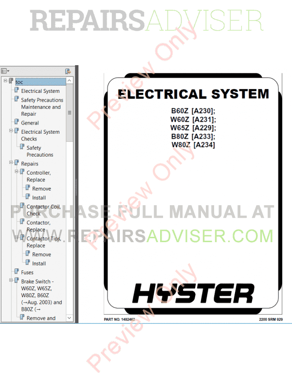Hyster Class 3 For A231 Electric Motor Hand Trucks PDF Manual, Manuals for Trucks by www.repairsadviser.com