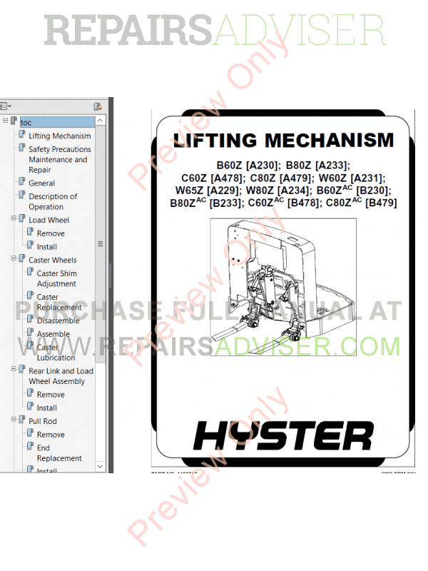 Hyster Class 3 For A478 Electric Motor Hand Trucks PDF Manual Download