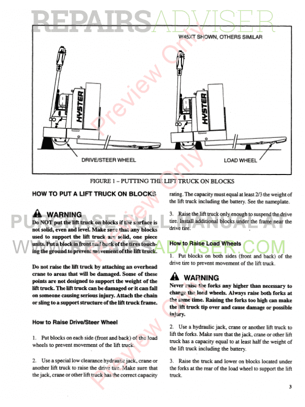 Hyster Class 3 For B199 Electric Motor Hand Trucks PDF Manual, Manuals for Trucks by www.repairsadviser.com