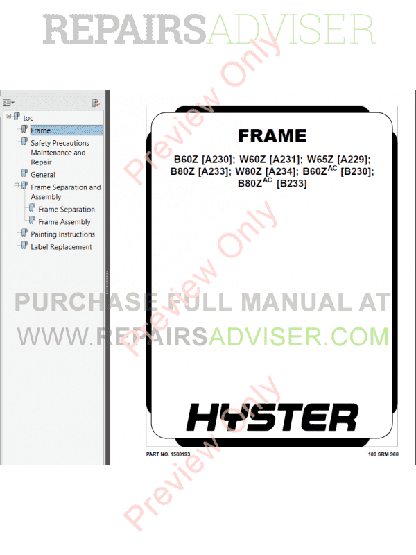 Hyster Class 3 For B233 Electric Motor Hand Trucks PDF Manual image #1