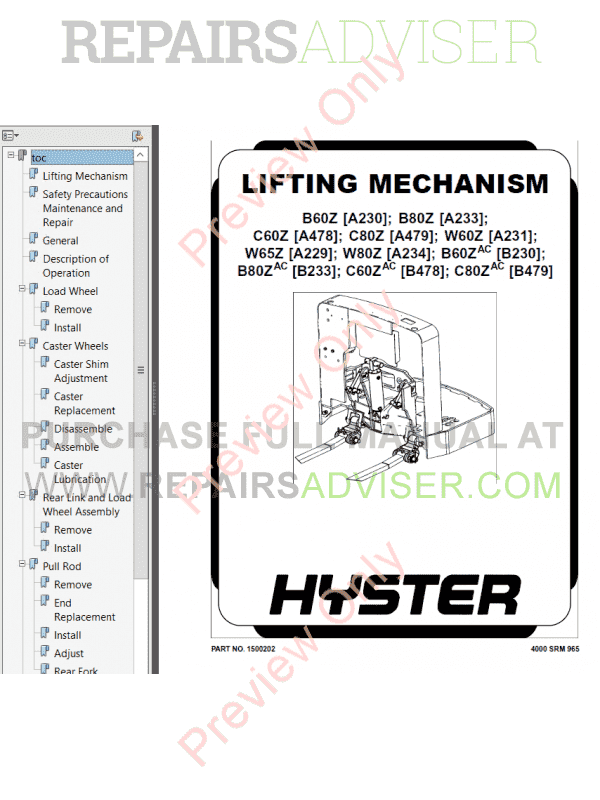 Hyster Class 3 For B479 Electric Motor Hand Trucks PDF Manual, Manuals for Trucks by www.repairsadviser.com