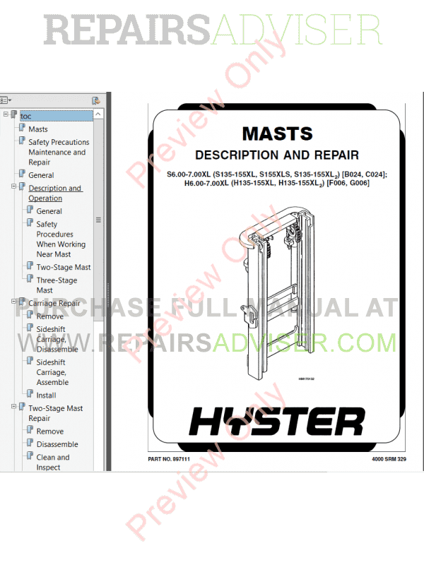 Hyster Class 4 For B024 Internal Combustion Engine Trucks PDF Manual image #1