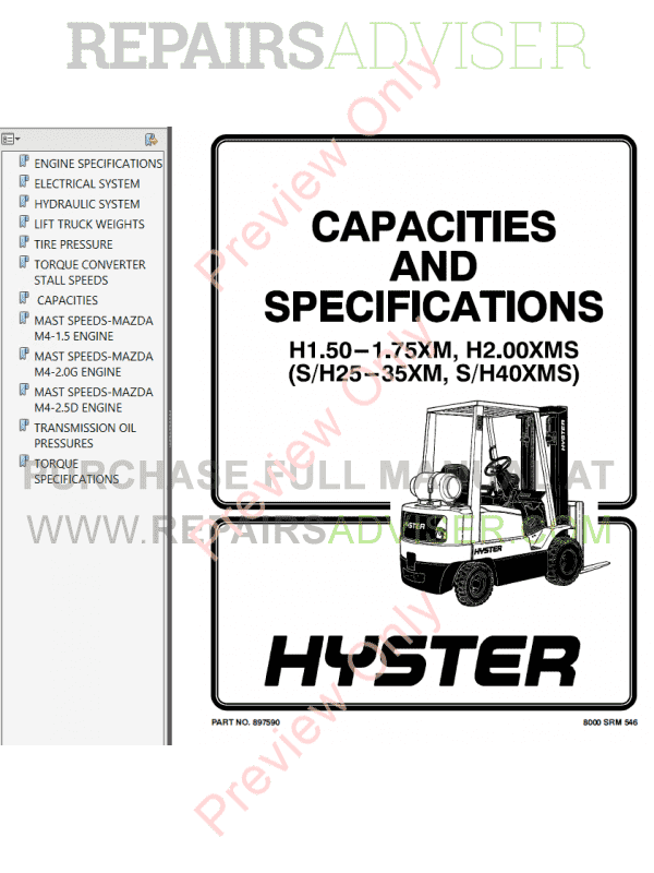 Hyster Class 4 For C010 Internal Combustion Engine Trucks - Cushion Tire PDF Manual image #1