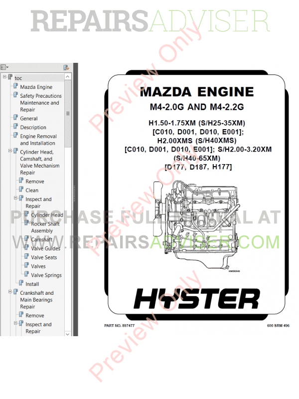 Hyster Class 4 For D010 Internal Combustion Engine Trucks PDF Manual, Manuals for Trucks by www.repairsadviser.com