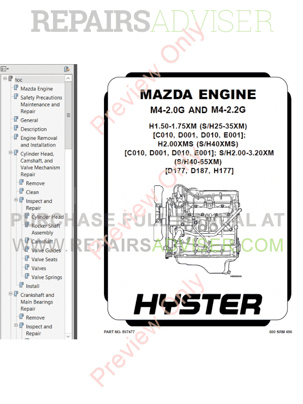 Hyster Class 4 For D187 Internal Combustion Engine Trucks PDF Manual image #1