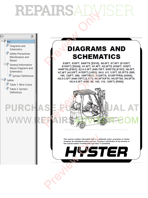Hyster Class 4 For E024 Internal Combustion Engine Trucks PDF Manual, Manuals for Trucks by www.repairsadviser.com
