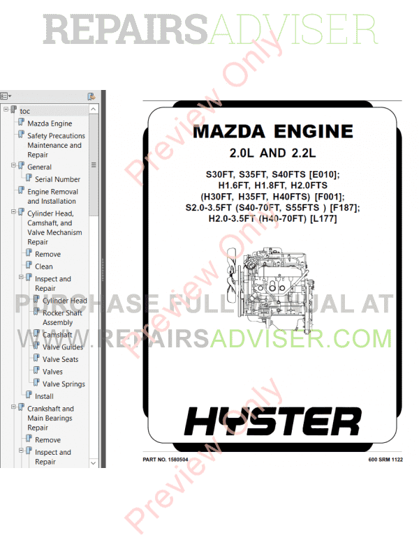 Hyster Class 4 For F187 Europe Internal Combustion Engine Trucks PDF Manual image #1