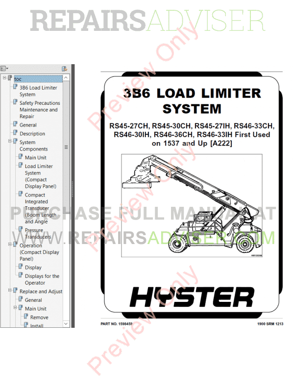 Hyster Class 5 For A222 Internal Combustion Engine Trucks PDF Manual image #1