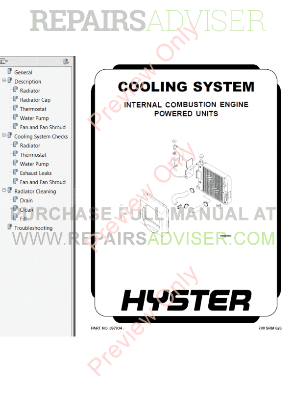 Hyster Class 5 For C117 Internal Combustion Engine Trucks PDF Manual image #1