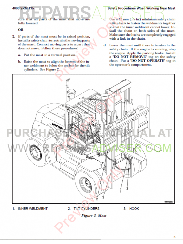 Hyster Class 5 For C117 Internal Combustion Engine Trucks PDF Manual, Manuals for Trucks by www.repairsadviser.com