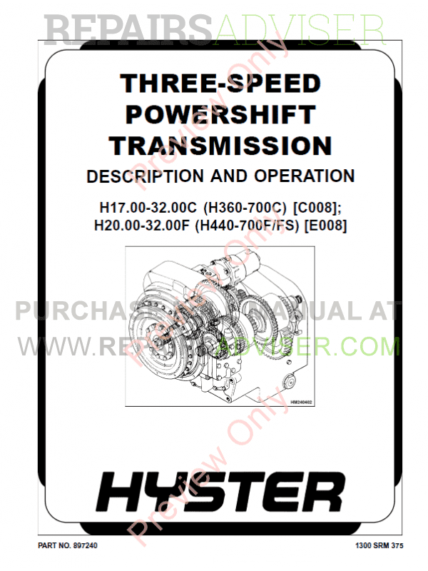 Hyster Class 5 For E008 Europe Internal Combustion Engine Trucks PDF Manual image #1