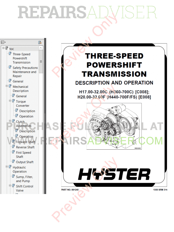 Hyster Class 5 For E008 Internal Combustion Engine Trucks PDF Manual, Manuals for Trucks by www.repairsadviser.com