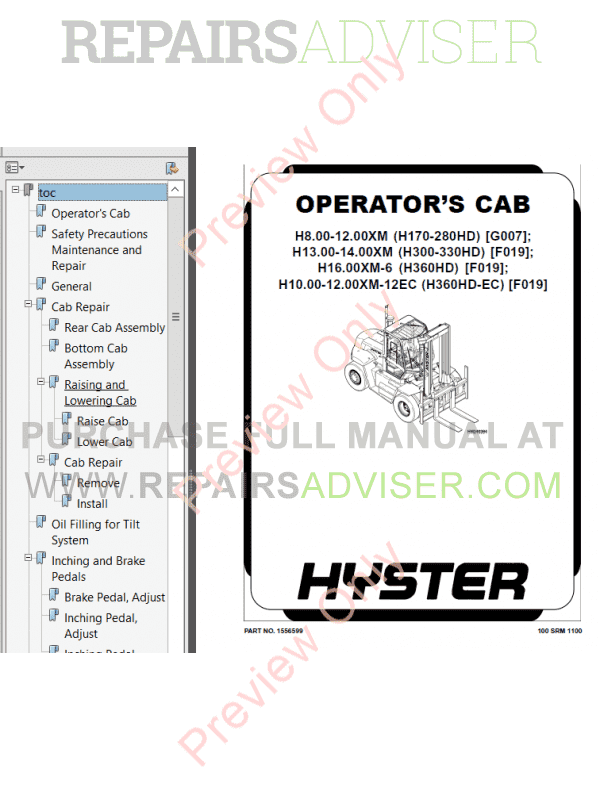 Hyster Class 5 For F019 Europe Internal Combustion Engine Trucks PDF Manual, Manuals for Trucks by www.repairsadviser.com