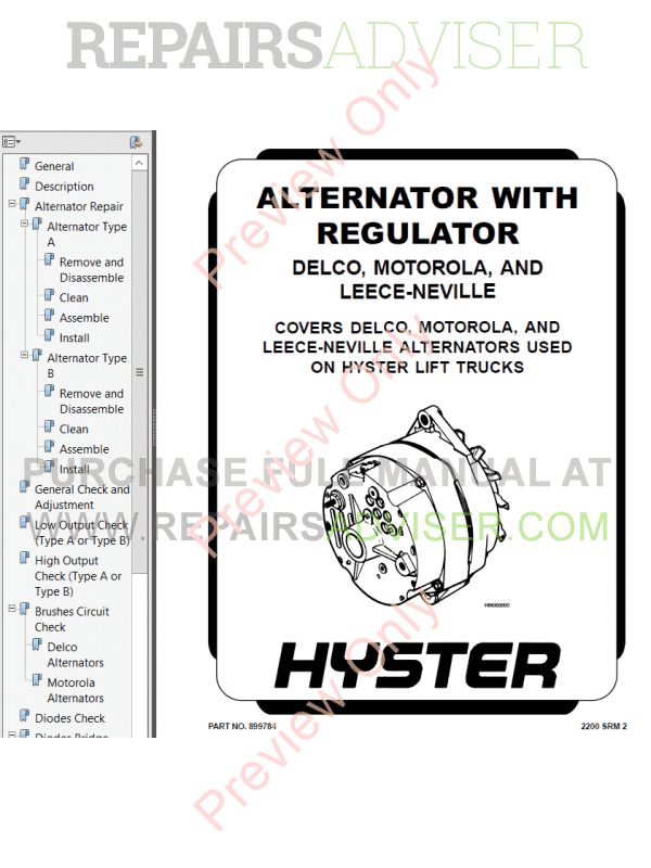 Hyster Class 5 For G005 Internal Combustion Engine Trucks PDF Manual image #1