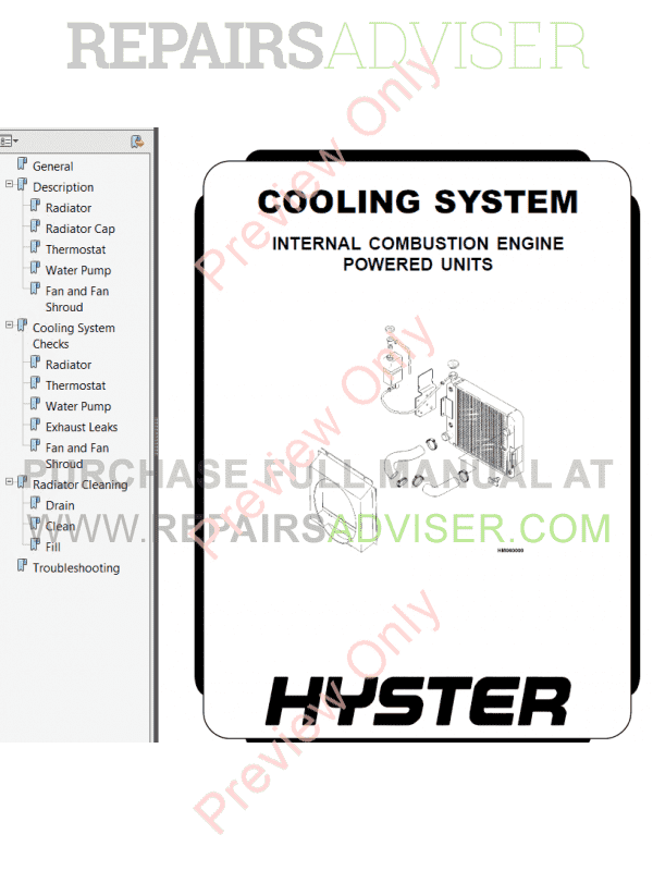 Hyster Class 5 For G005 Internal Combustion Engine Trucks PDF Manual, Manuals for Trucks by www.repairsadviser.com